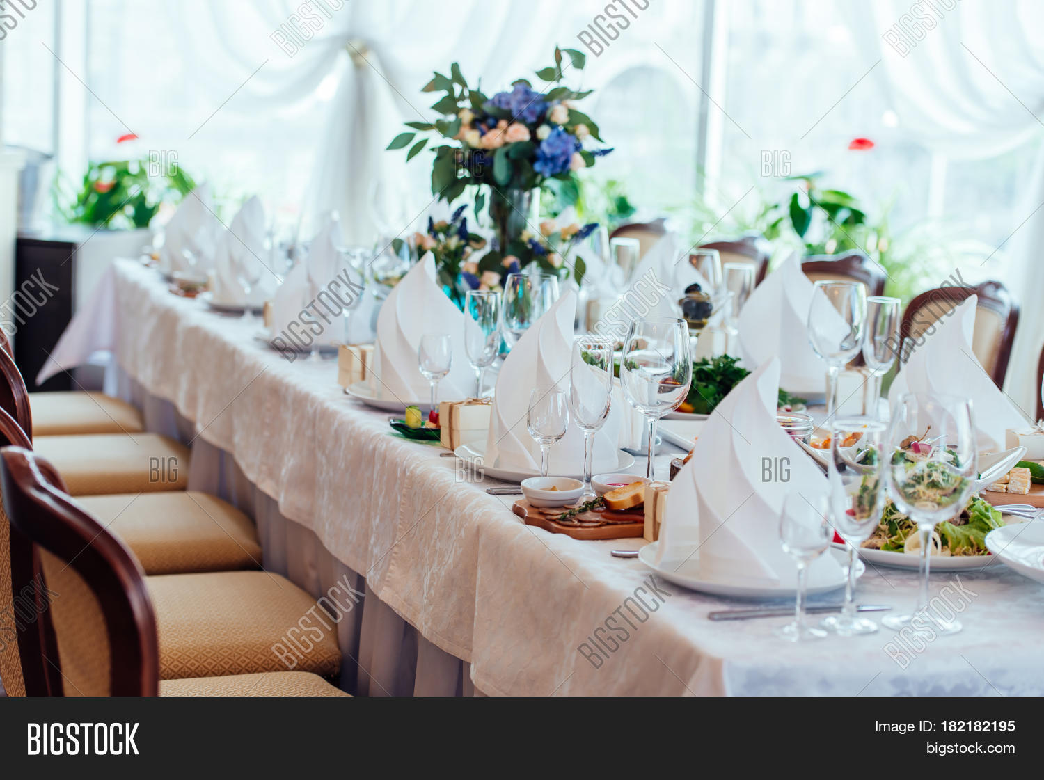 Table setting. Table served for wedding banquet close up view. White napkin on a & Table Setting. Table Image u0026 Photo (Free Trial) | Bigstock