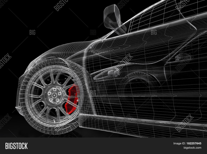 Imagen y foto car vehicle 3d blueprint mesh model bigstock car vehicle 3d blueprint mesh model with a red brake caliper on a black background malvernweather Gallery