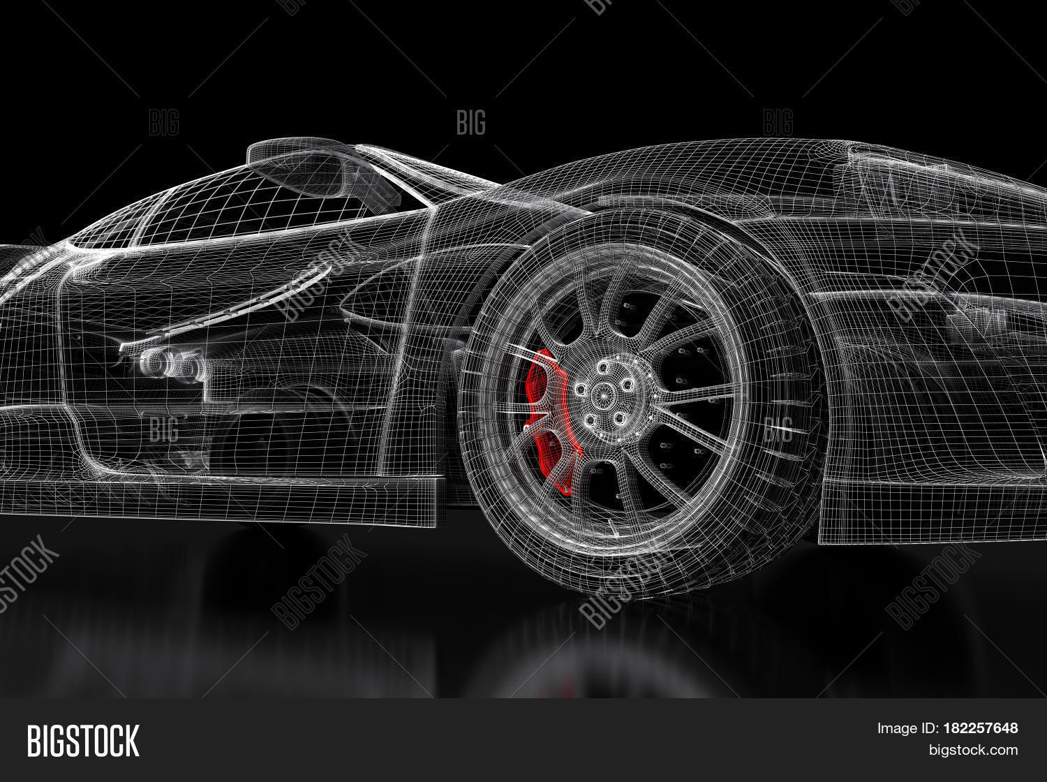 Car vehicle 3d image photo free trial bigstock car vehicle 3d blueprint mesh model with a red brake caliper on a black background malvernweather Gallery