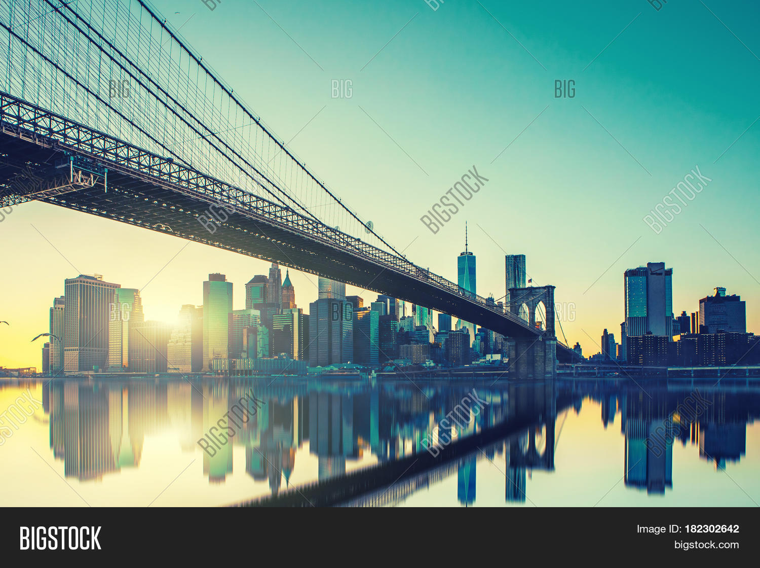 Imagen y foto view brooklyn prueba gratis bigstock view of brooklyn bridge and manhattan skyline wtc freedom tower from dumbo at sunset brooklyn malvernweather