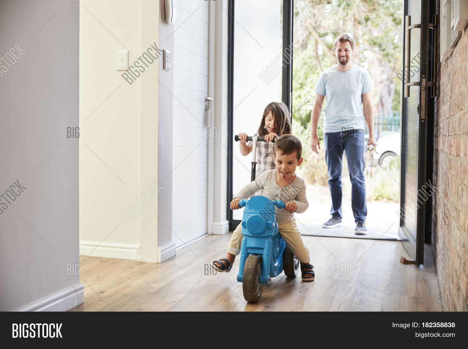 Excited Children Arriving Home Image & Photo | Bigstock