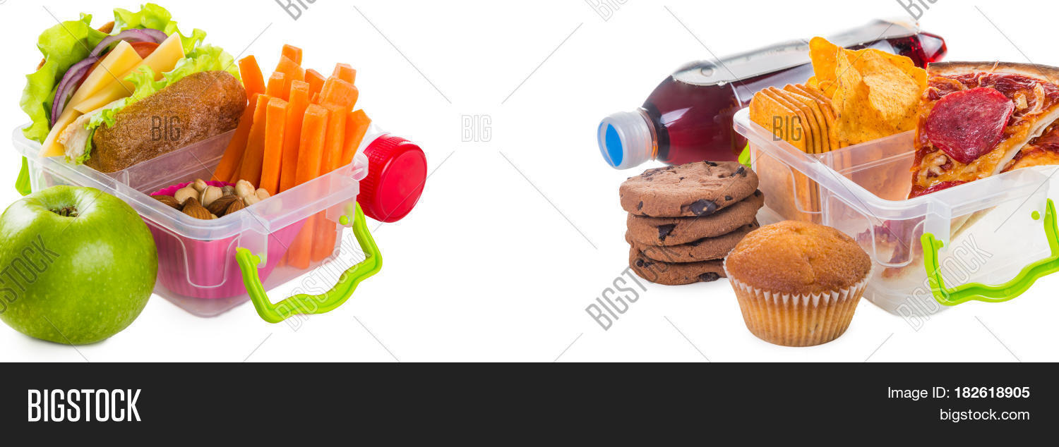 Healthy Vs Unhealthy Lunch Boxes Isolated On White
