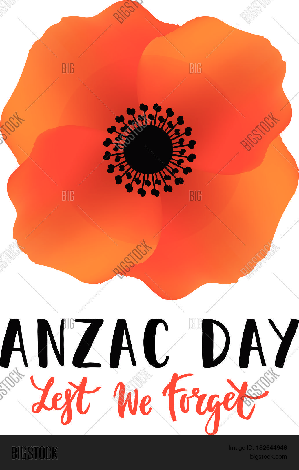 Vector illustration vector photo free trial bigstock vector illustration of a bright poppy flower remembrance day symbol anzac day lettering mightylinksfo