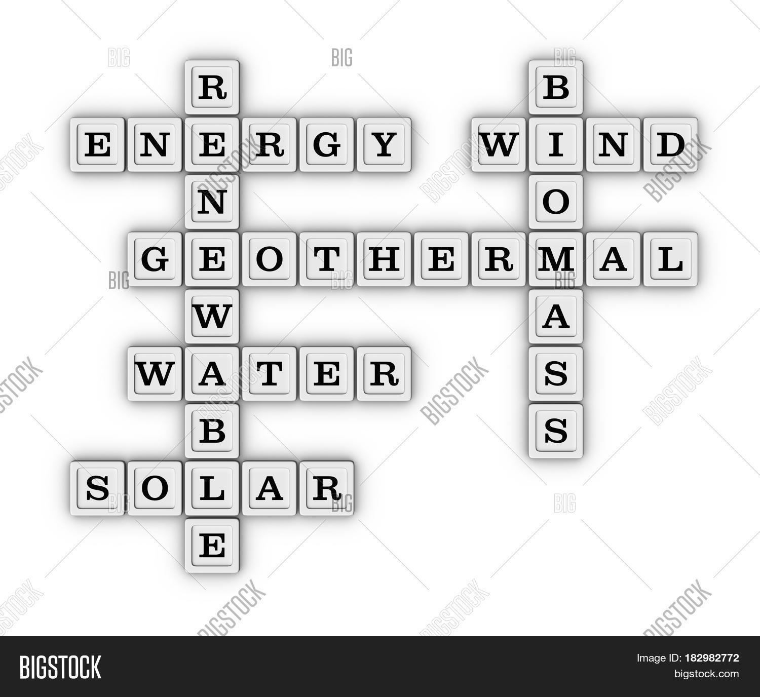 Renewable Green Energy Crossword Puzzle Save Earth Concept 3D Illustration Isolated On White Background