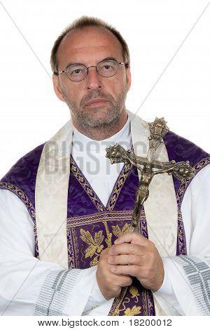 Catholic priest with a cross