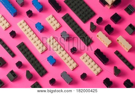 Childrens Toy Blocks. Colorful Details On A Pink Background,