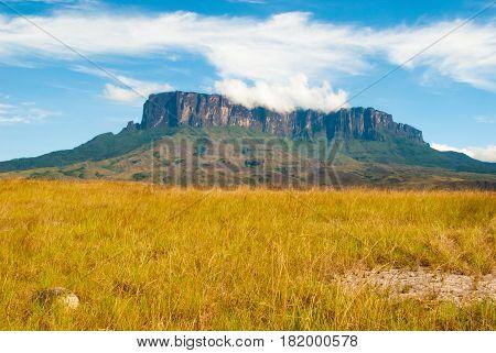 View of Kukenan Tepui Great Savanna Canaima National Park Venezuela