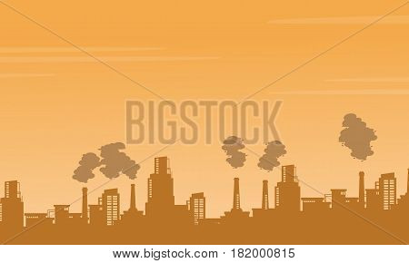Silhouette industry pollution background vector illustration stock