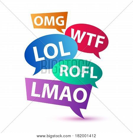 Chat words - LOL OMG WTF ROFL LMAO. Internet slang used in blog, chat, email, forum communication. Vector illustration.