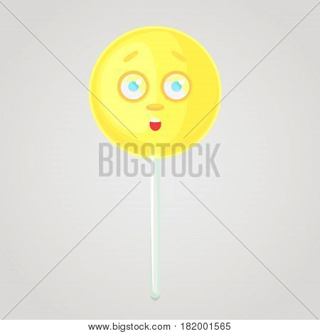 Yellow candy is an emotional icon voluminous with a face on a stick. Round caramel. Scared fear in the eyes afraid. Sweet food. Cartoon style. Object isolated on a gradient background.