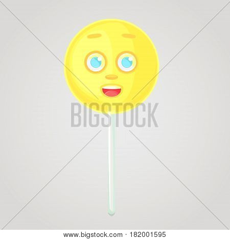 Yellow candy is an emotional icon voluminous with a face on a stick. Round caramel. Happy candy. Sweet food. Cartoon style. Object isolated on a gradient background.