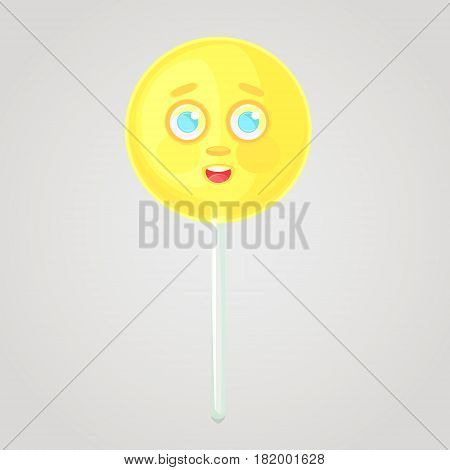 Yellow candy is an emotional icon voluminous with a face on a stick. Round caramel. Shy candy. Sweet food. Cartoon style. Object isolated on a gradient background.