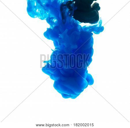 Colors Dropped Into Liquid And Photographed While In Motion. Ink Swirling In Water. Cloud Of Silky I
