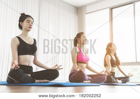 Group Asian People practicing yoga. Meditating gesture. Copy space.