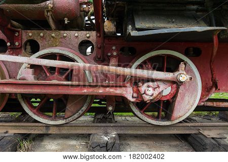 Mechanical part and wheels of the retro steam locomotive