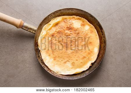Stack Of Pancakes In A Frying Pan. Traditional For The Russian P