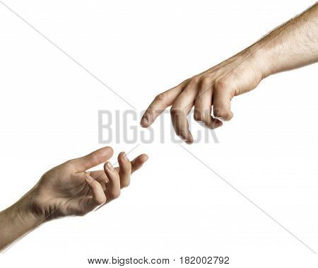 Two hands reach for each other. Image on white isolated background.