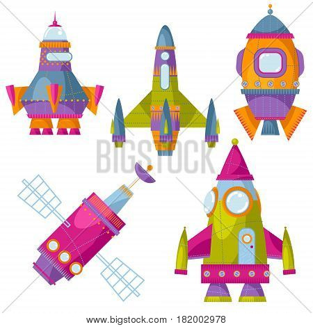 Set of 5 multi-colored toy space rockets. Spaceships. Vector illustration