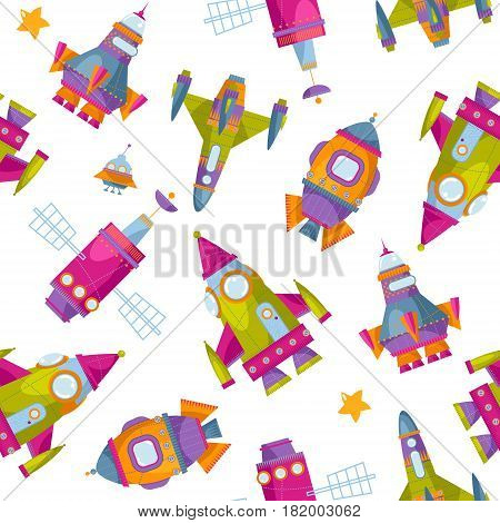 Multi-colored toy space rockets. Spaceships. Seamless background pattern. Vector illustration
