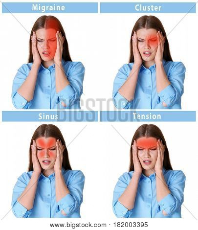 Young woman with different types of headache on white background