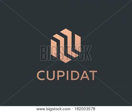 Abstract business premium logo design template. Hexagon real estate finance universal vector logo icon.
