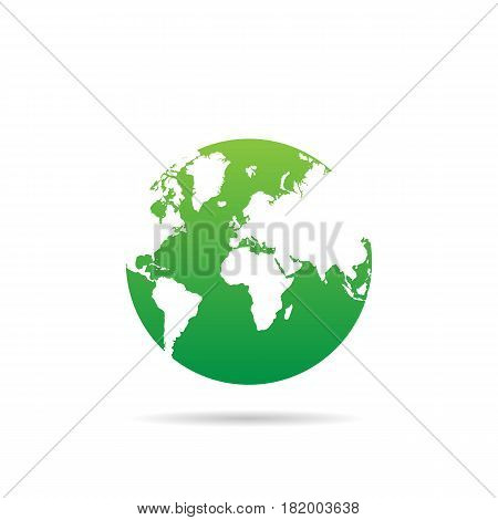 Earth Globe In Design On A White Background