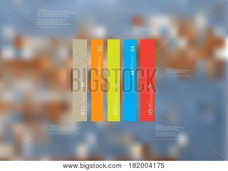 Illustration infographic template with motif of rectangle vertically divided to five standalone color sections. Blurred photo with texture motif of worn wooden board is used as background.
