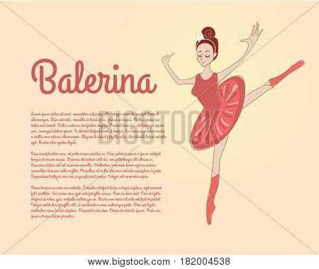 A cute little girl shows dances from the ballet school. A small ballerina is standing in a dance pose