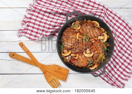 Pork Fillet Stew With Onion. Mushrooms