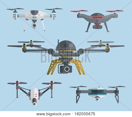 Remote aerial drones with digital cameras. Air quadrocopters collection. Modern flying copters with action cameras for mobile filming and photo. Flat drone icons. Vector illustration art.