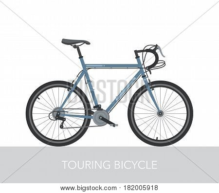 Configuration of city, touring or trekking bicycle. Bike for long distance travel around the world. Steel frame and heavy equipped bicycle. Ecology transport. Detailed vector illustration.