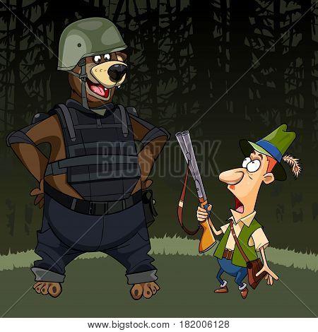 cartoon hunter with a gun was afraid of a bear in body armor