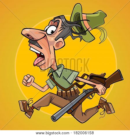 funny cartoon hunter with gun runs away in fright