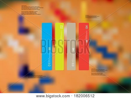 Illustration infographic template with motif of rectangle vertically divided to four standalone color sections. Blurred photo with ludo board game motif is used as background.
