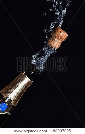 Close-up of champagne explosion on a black background
