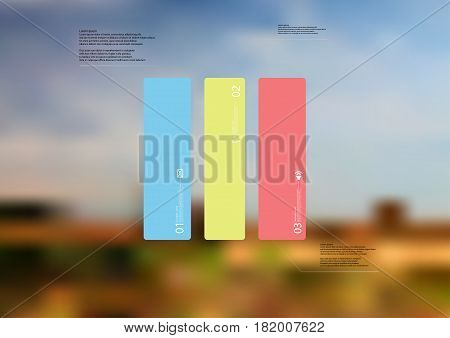Illustration infographic template with motif of rectangle vertically divided to three standalone color sections. Blurred photo with natural motif landscape with cloudy sky is used as background.
