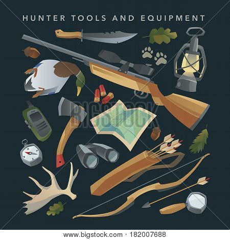 Hunter equipment set. Hunting tools and items. Weapon, rifle, bow and arrows. Binoculars, quiver and knife. Isolated design elements. Cartoon style.
