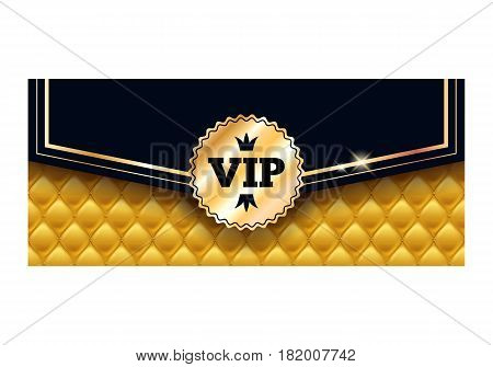 VIP party premium invitation card poster flyer. Black and golden design template. Envelope design with quilted yellow pattern and round badge. Decorative background.
