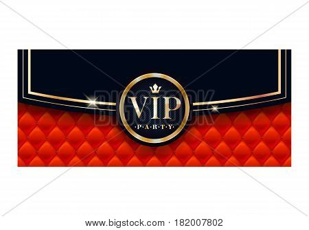 VIP party premium invitation card poster flyer. Black and golden design template. Envelope design with quilted red pattern and round badge. Decorative background.