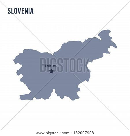 Vector map of Slovenia isolated on white background. Travel Vector Illustration.