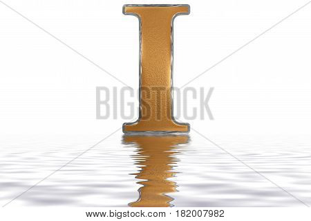 Roman Numeral I, Unus, 1, One, Reflected On The Water Surface, Isolated On  White, 3D Render