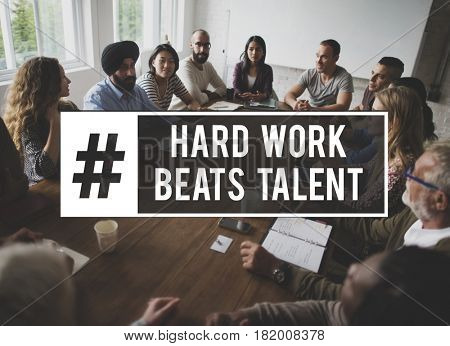 Work Hard Beats Talent Quote Message