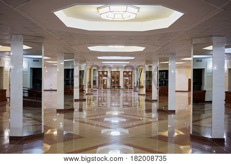 MOSCOW, RUSSIA - OCT 26, 2016: Hall interior of Lomonosovsky building of Moscow State University. MSU founded on January 25, 1755.