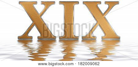 Roman Numeral Xix, Undeviginti, 19, Nineteen, Reflected On The Water Surface, Isolated On  White, 3D