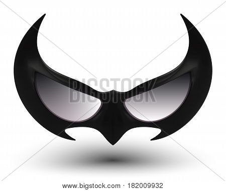 realistic vector illustration of black super hero mask for face character with vivid multicolored abstract gradient mesh on light background