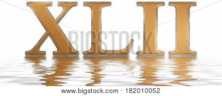 Roman Numeral Xlii, Duo Et Quadraginta, 42, Forty Two, Reflected On The Water Surface, Isolated On