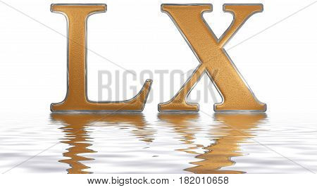 Roman Numeral Lx, Sexaginta, 60, Sixty, Reflected On The Water Surface, Isolated On  White, 3D Rende