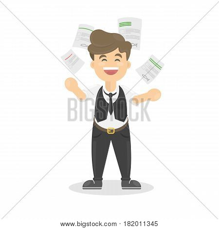Businessman throws paper in happiness. Concept of end of work or happy friday.