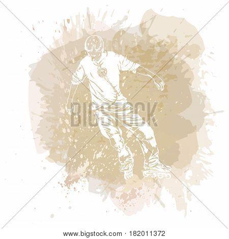 Roller skating. Grunge trend handcrafted splash background/ Good for print, web, flayer design.
