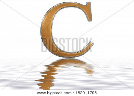 Roman Numeral C, Centum, 100, One Hundred, Reflected On The Water Surface, Isolated On  White, 3D Re